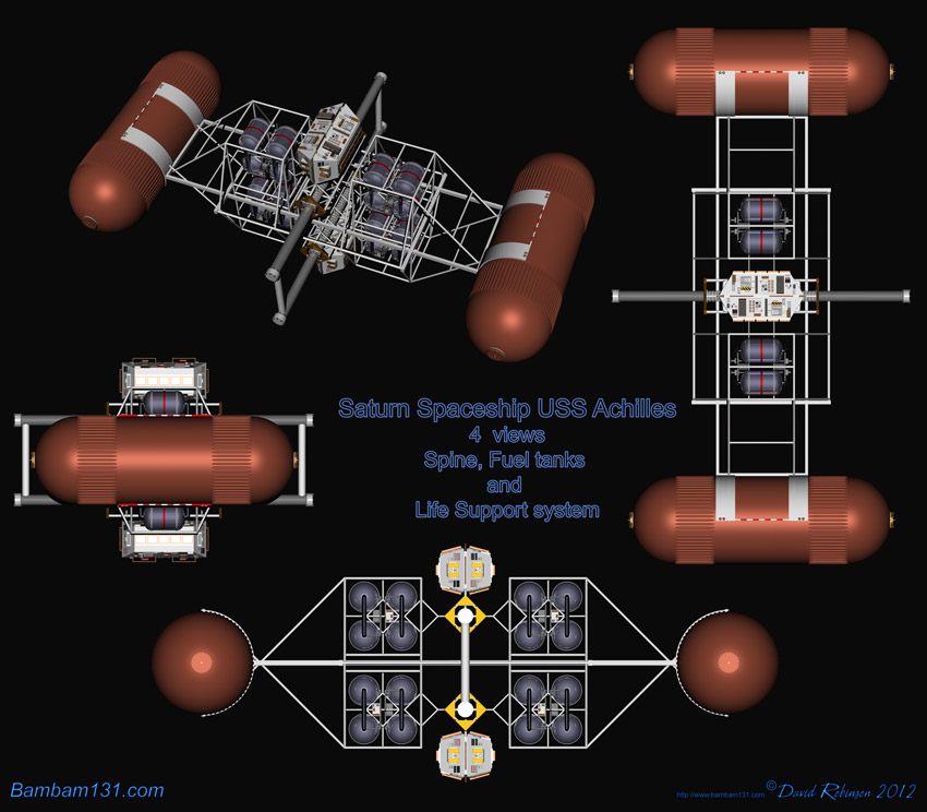 The Saturn Spaceship USS Achilles 4 views of the spine section, fuel tanks and Life Support system